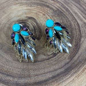 Jewelry - Turquoise Purple Stone Earrings Gold Chain Glam
